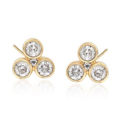 .50 ct. t.w. Diamond Trio Stud Earrings in 14kt Yellow Gold, , default