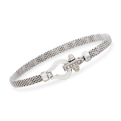 "Phillip Gavriel ""Popcorn"" Sterling Silver Bracelet with 18kt Gold and Diamond Accents"