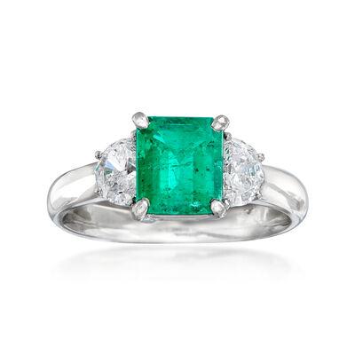 C. 2000 Vintage 1.38 Carat Emerald and .58 ct. t.w. Diamond Ring in Platinum