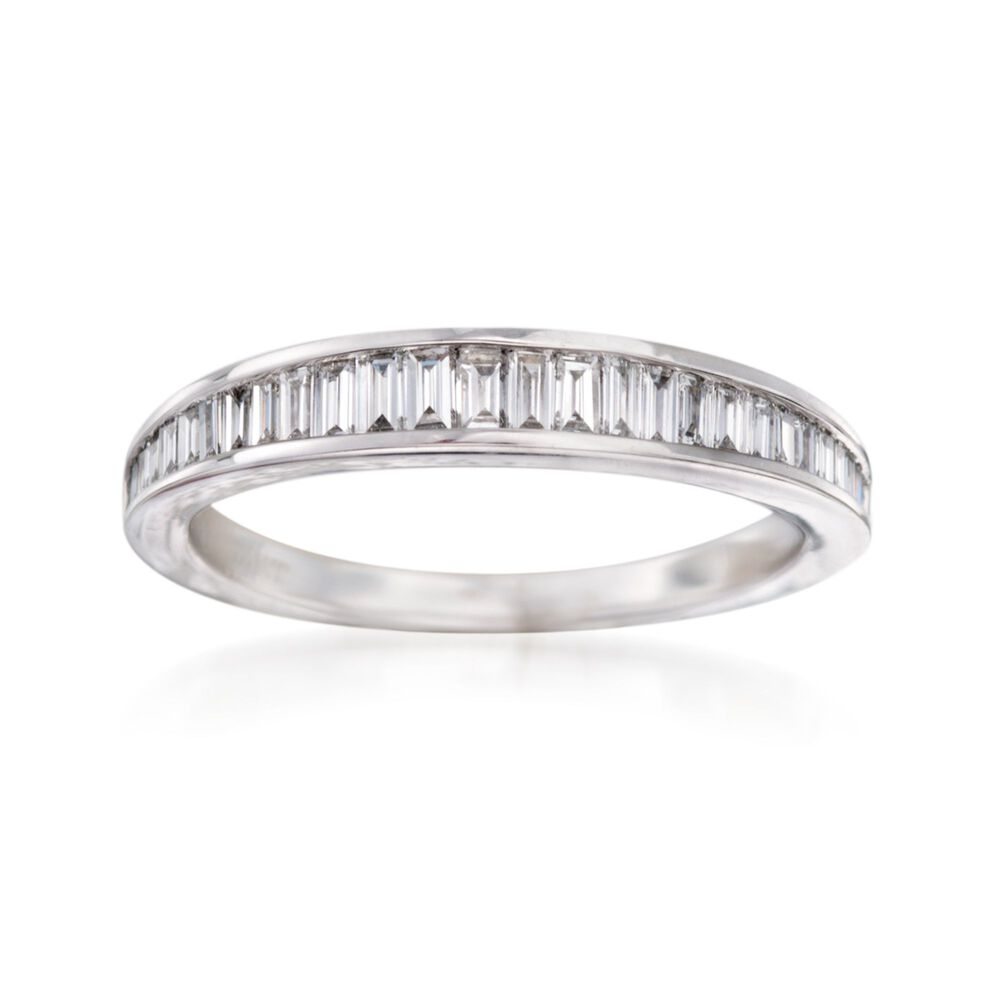 Baguette Wedding Band.48 Ct T W Channel Set Baguette Diamond Wedding Ring In 14kt White Gold