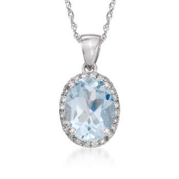 "1.50 Carat Aquamarine Pendant Necklace With Diamond Accents in 14kt White Gold. 18"", , default"