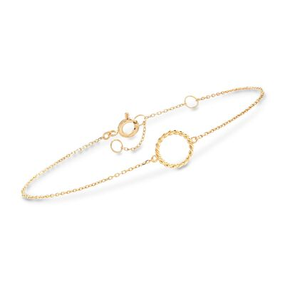 18kt Yellow Gold Roped Open Circle Bracelet, , default