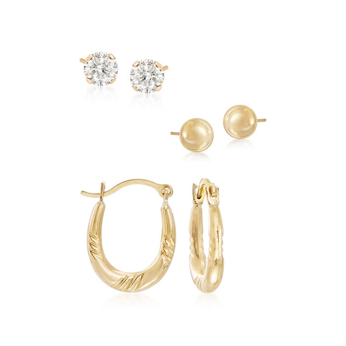.50 ct. t.w. CZ Jewelry Set: Three Pairs of Earrings in 14kt Yellow Gold, , default