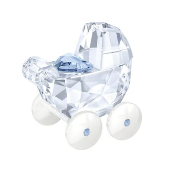 """Swarovski Crystal """"Baby Carriage"""" Light Blue and Clear Crystal Figurine, , default"""
