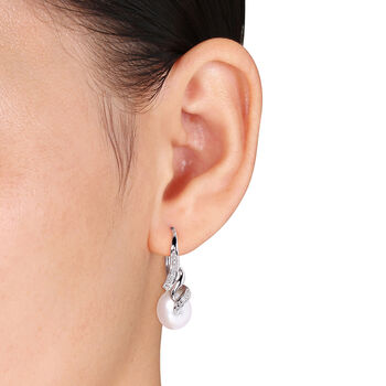9-9.5mm Cultured Pearl Drop Earrings with Diamond Accents in Sterling Silver