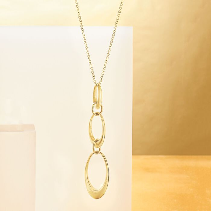 Italian 14kt Yellow Gold Graduated Oval-Link Drop Necklace in 14kt Gold