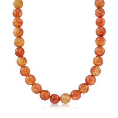 Faceted Carnelian Bead Necklace with Sterling Silver, , default