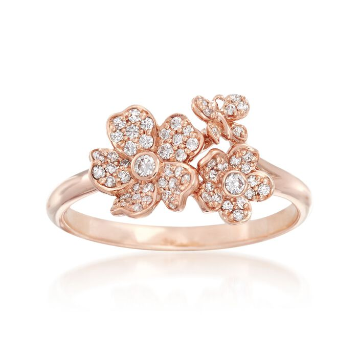 "Mikimoto ""Cherry Blossom"" .23 ct. t.w. Diamond Floral Ring in 18kt Rose Gold, , default"