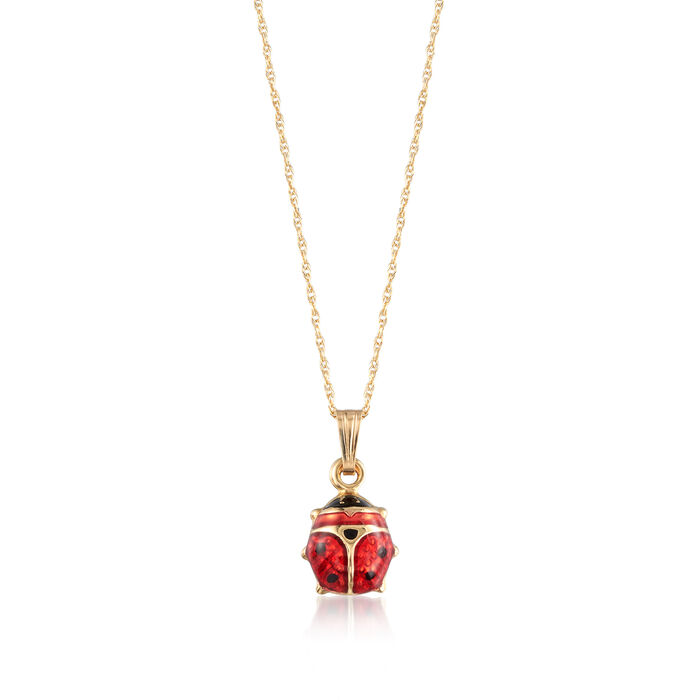 "Child's Red Enamel Ladybug Pendant Necklace in 14kt Yellow Gold. 15"", , default"