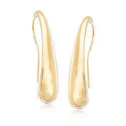 Italian 18kt Yellow Gold Curved Teardrop Earrings, , default