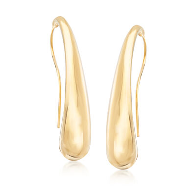 Italian 18kt Yellow Gold Curved Teardrop Earrings, , default