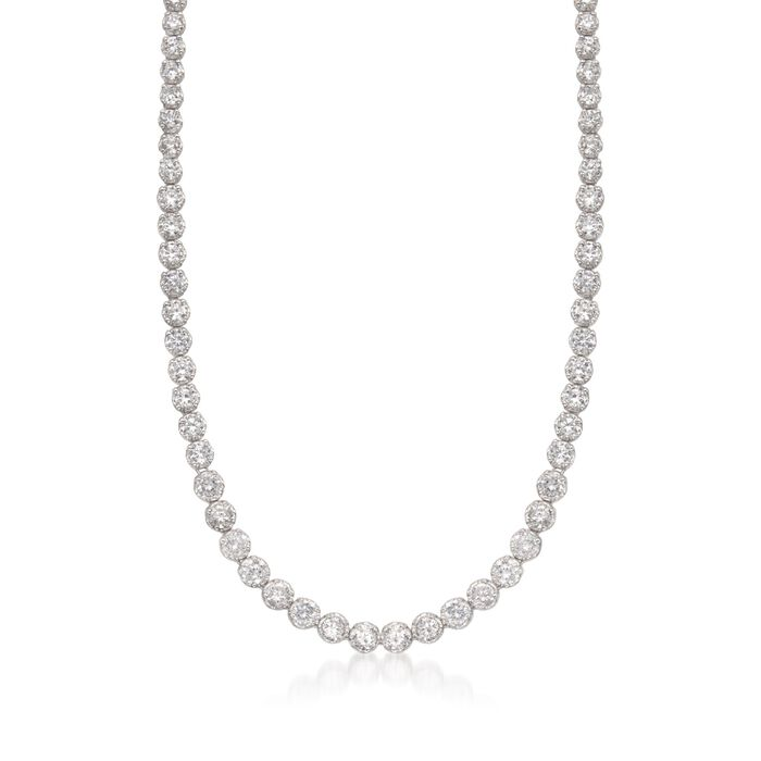 16.50 ct. t.w. Graduated CZ Tennis Necklace in Sterling Silver, , default