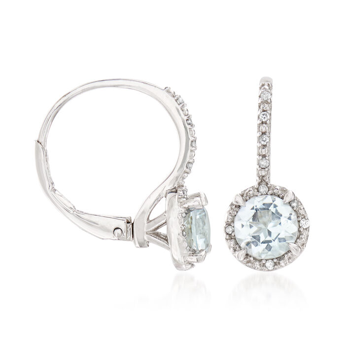 1.50 ct. t.w. Aquamarine Drop Earrings with Diamond Accents in Sterling Silver