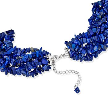"Lapis Torsade Necklace in Sterling Silver. 18"", , default"
