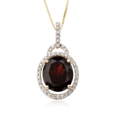 5.00 Carat Oval Garnet and Diamond Pendant with 14kt Yellow Gold Necklace