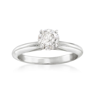 .50 Carat Certified Diamond Solitaire Engagement Ring in 14kt White Gold, , default
