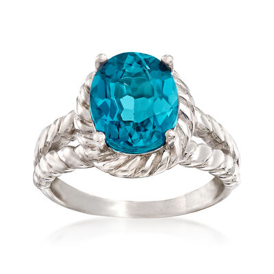 4.10 Carat London Blue Topaz Roped Ring in Sterling Silver