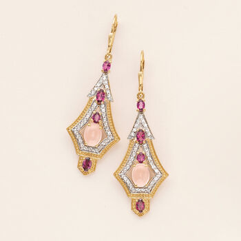 Rose Quartz and 1.90 ct. t.w. Rhodolite Garnet Earrings with 1.50 White Topaz in 18kt Gold Over Sterling, , default