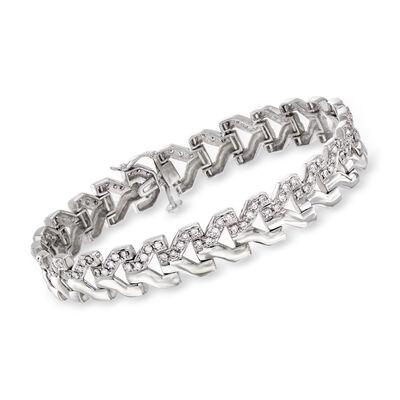 C. 1980 Vintage 2.00 ct. t.w. Diamond Link Bracelet in 14kt White Gold, , default