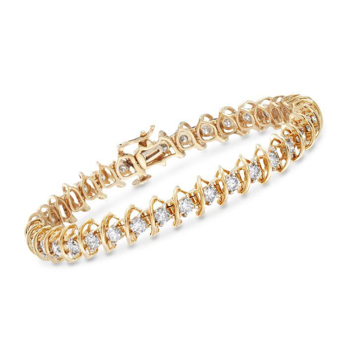 "5.00 ct. t.w. Diamond S-Link Bracelet in 14kt Yellow Gold. 7"""