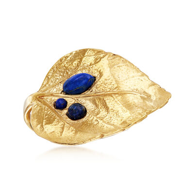 Lapis Leaf Ring in 18kt Gold Over Sterling, , default