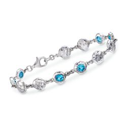 "Zina Sterling Silver ""Ripple"" 3.25 ct. t.w. Blue Topaz Station Bracelet, , default"