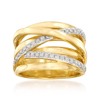 .34 ct. t.w. Diamond Highway Ring in Sterling Silver and 18kt Gold Over Sterling Silver, , default