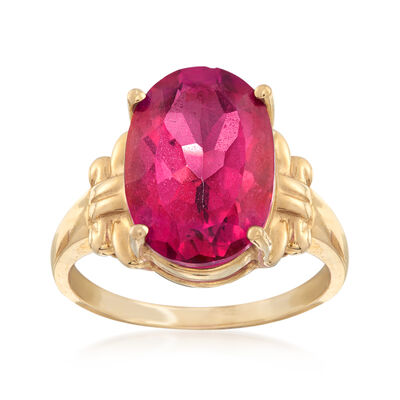 C. 1970 Vintage 7.50 Carat Pink Topaz Ring in 10kt Yellow Gold, , default