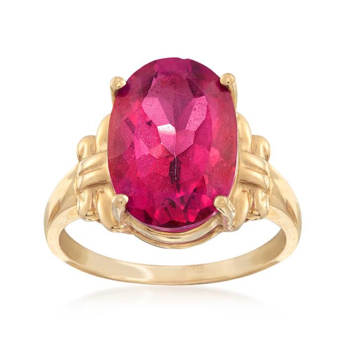 C. 1970 Vintage 7.50 Carat Pink Topaz Ring in 10kt Yellow Gold. Size 7.5, , default