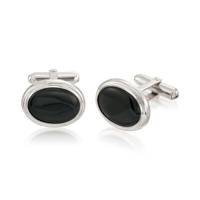 Black Onyx and Sterling Silver Cuff Links, , default