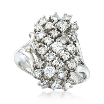 C. 1970 Vintage 1.00 ct. t.w. Diamond Cluster Ring in 14kt White Gold
