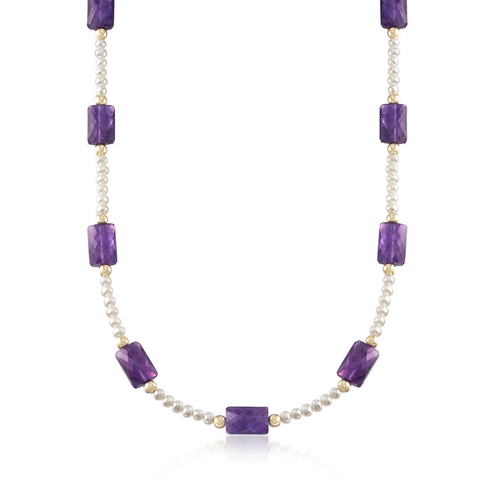 50.00 ct. t.w. Amethyst Bead and Cultured Pearl Necklace in 14kt Yellow Gold
