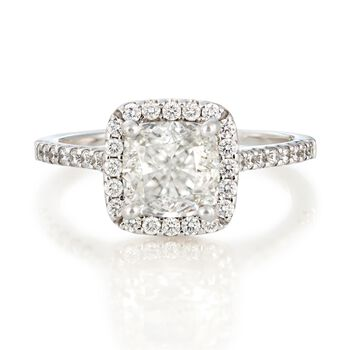 2.45 ct. t.w. Certified Diamond Halo Engagement Ring in 18kt White Gold, , default