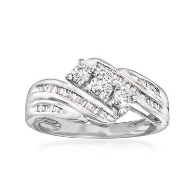 C. 2010 Vintage .50 ct. t.w. Diamond Cocktail Ring in 10kt White Gold
