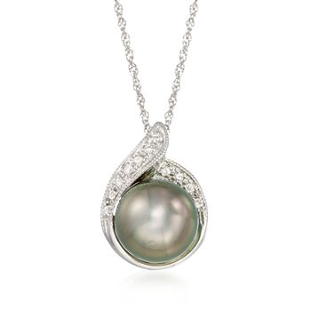 """8.5-9mm Black Cultured Tahitian Pearl Pendant Necklace With Diamond Accents in 14kt White Gold. 18"""", , default"""