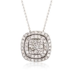 "1.00 ct. t.w. Diamond Double Halo Pendant Necklace in 14kt White Gold. 18"", , default"