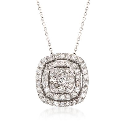 1.00 ct. t.w. Diamond Double Halo Pendant Necklace in 14kt White Gold, , default
