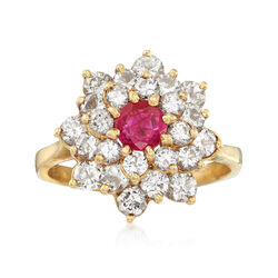 C. 1980 Vintage .40 Carat Ruby and 1.55 ct. t.w. Diamond Cluster Ring in 18kt Yellow Gold, , default