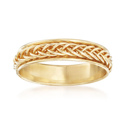14kt Yellow Gold Small Braided Band Ring, , default
