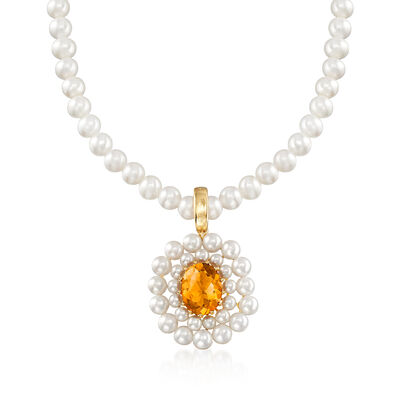 2.50 Carat Citrine and 2-5mm Cultured Pearl Necklace with 14kt Yellow Gold, , default