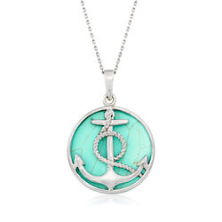 Synthetic Turquoise Anchor Necklace in Sterling Silver, , default