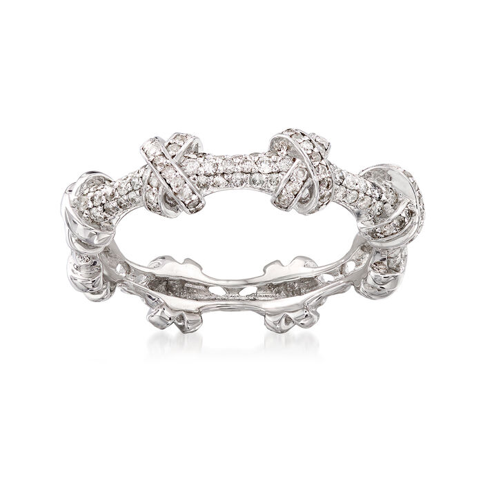 .33 ct. t.w. Diamond X Station Ring in 14kt White Gold