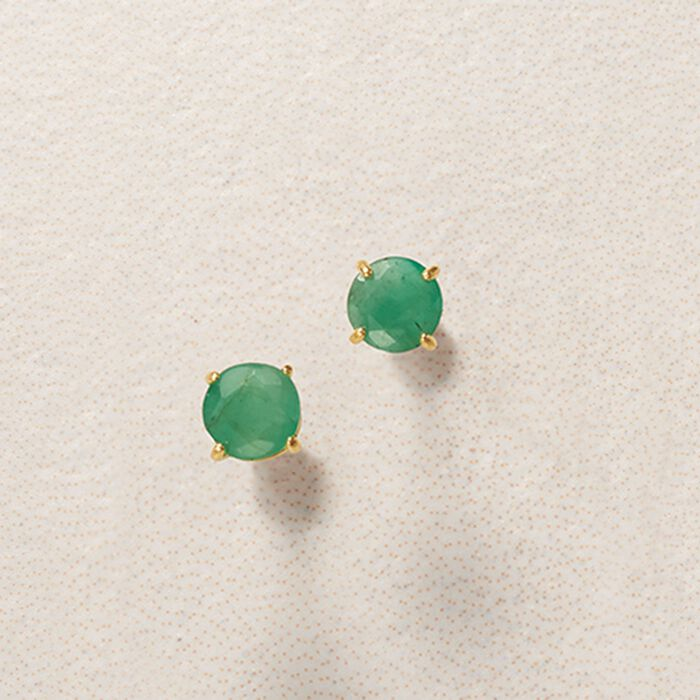 .50 ct. t.w. Round Emerald Stud Earrings in 14kt Yellow Gold