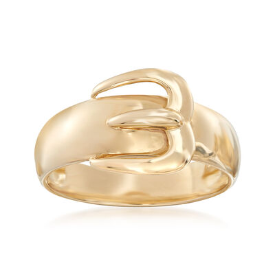14kt Yellow Gold Buckle Ring, , default