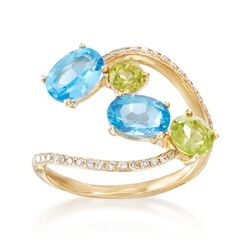 1.90 ct. t.w. Blue Topaz and .80 ct. t.w. Peridot Open Ring With Diamonds in 14kt Yellow Gold, , default