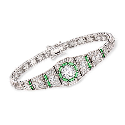 4.00 ct. t.w. CZ and .98 ct. t.w. Simulated Emerald Bracelet in Sterling Silver, , default
