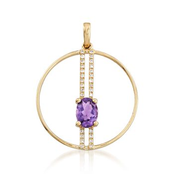 .70 ct. t.w. Amethyst Open Circle Pendant With Diamonds in 14kt Yellow Gold, , default