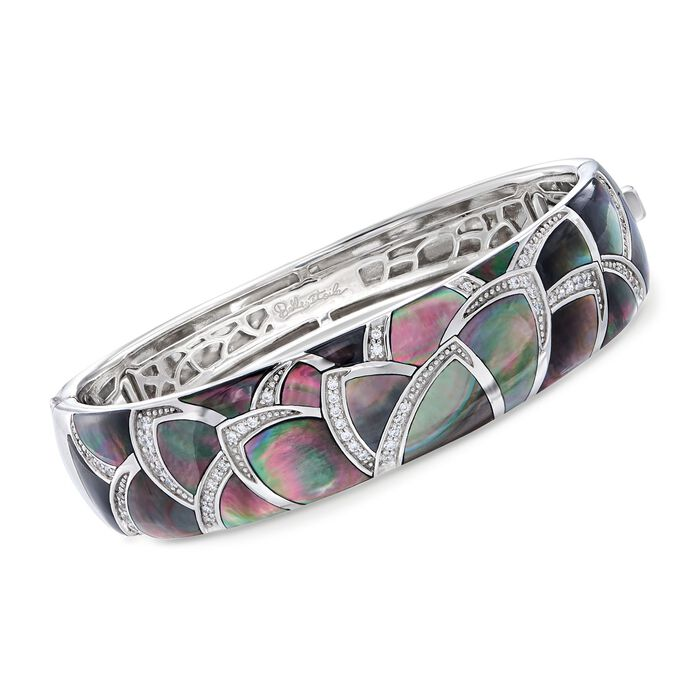 """Belle Etoile """"Sirena"""" Black Mother-Of-Pearl and .30 ct. t.w. CZ Bangle Bracelet in Sterling Silver. 7"""""""