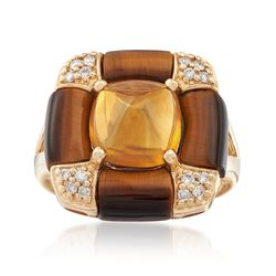 3.10 Carat Citrine and Tiger's Eye Ring With .15 ct. t.w. Diamonds in 14kt Yellow Gold, , default