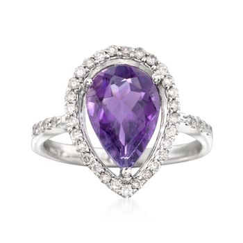 3.00 Carat Amethyst and .35 ct. t.w. Diamond Ring in 14kt White Gold, , default